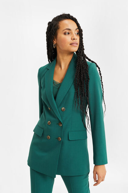 Dames regular fit double breasted blazer Groen