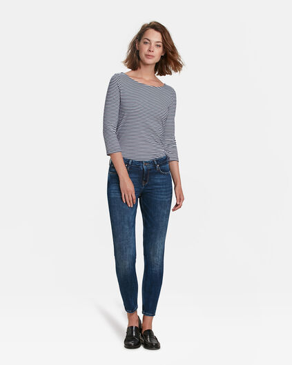DAMES MID RISE SKINNY FIT HIGH STRETCH CROPPED JEANS Donkerblauw