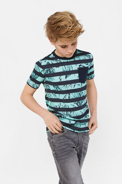 Jongens gestreept T-shirt met dessin All-over print