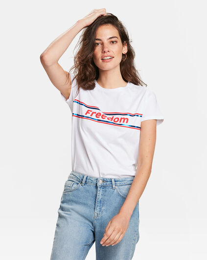 DAMES FREEDOM PRINT T-SHIRT Wit