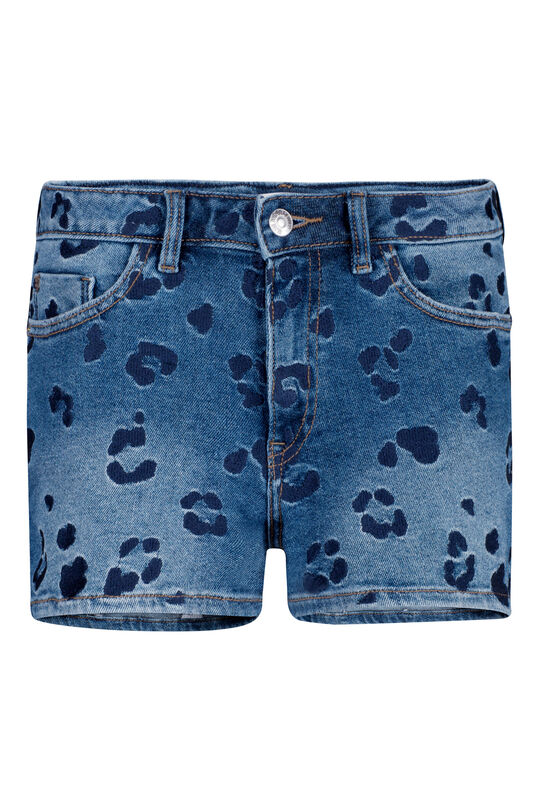Dames high waist embroidery denim short Blauw