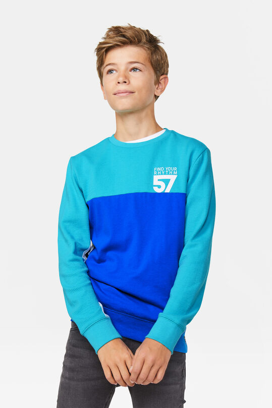 Jongens colourblock T-shirt Turkoois