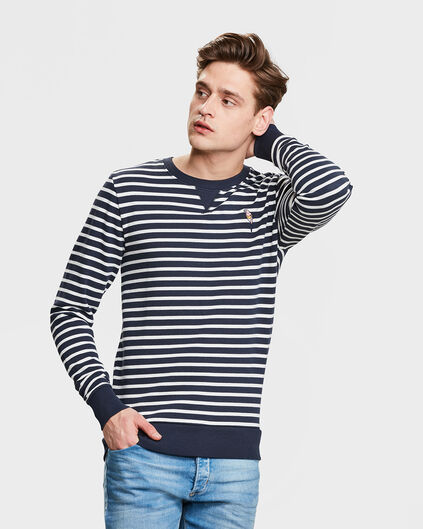 HEREN PARROT STRIPE SWEATER Donkerblauw