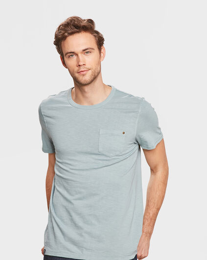 HEREN GARMENT DYED T-SHIRT Lichtblauw