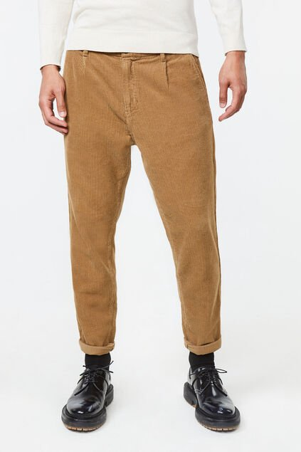 Heren loose tapered corduroy chino Lichtbruin
