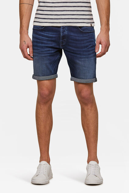Heren regular fit jog denimshort Donkerblauw