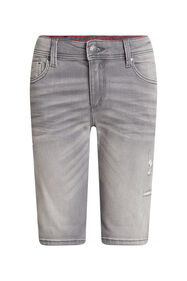 Jongens slim fit denimshort met destroyed details_Jongens slim fit denimshort met destroyed details, Grijs