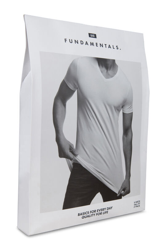 Heren tall fit T-shirt, 2-pack Zwart