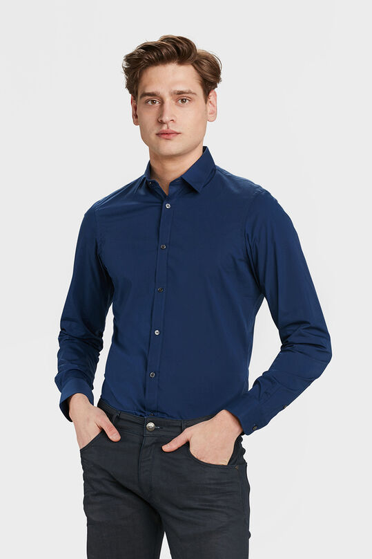 Heren slim fit overhemd met stretch Marineblauw