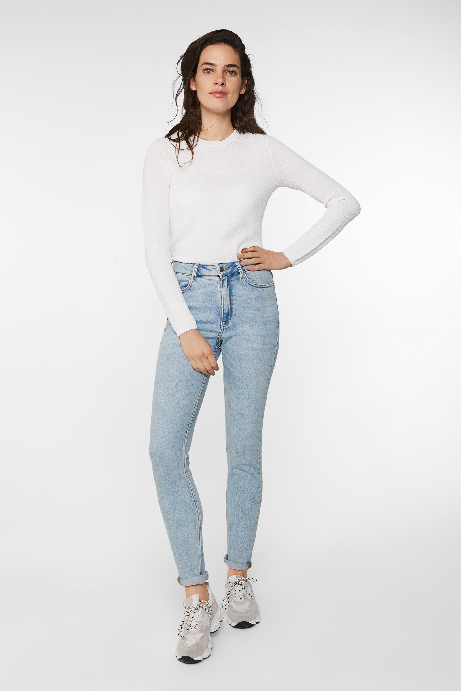 Dames gebleekte high rise skinny jeans | 94977639 WE Fashion
