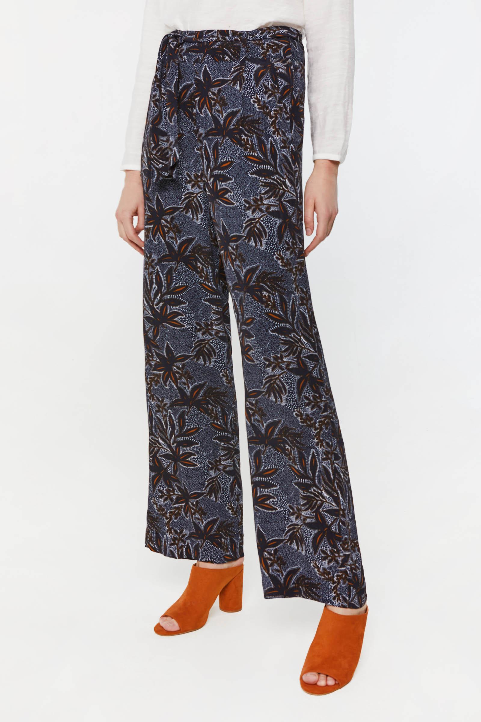 Dames high waist broek met dessin | 95149134 WE Fashion