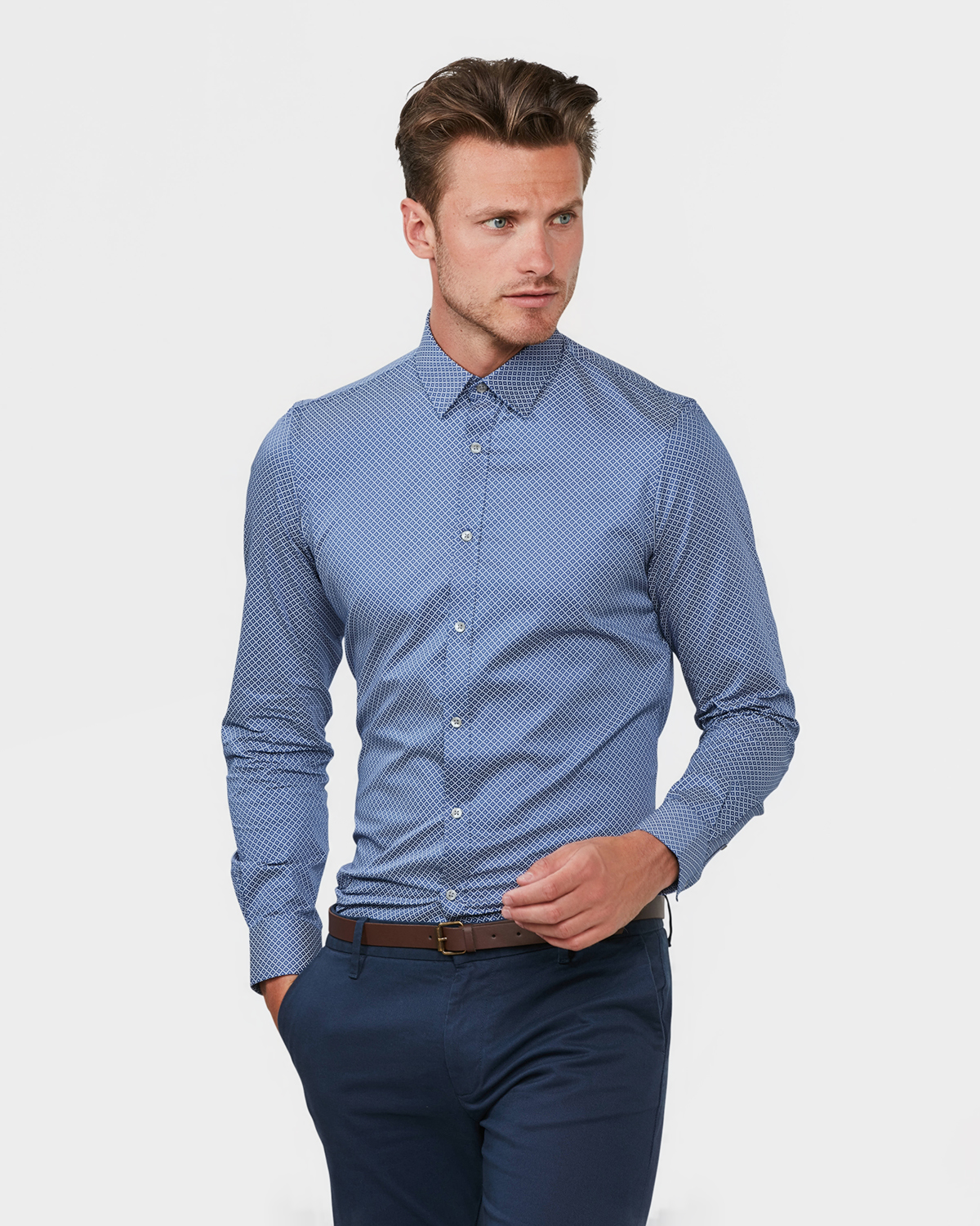 Slim fit (Our sleekest fit, cut shorter and more narrow in the chest and shoulders). % cotton. Button closure at front, button-down collar, buttons at cuff.