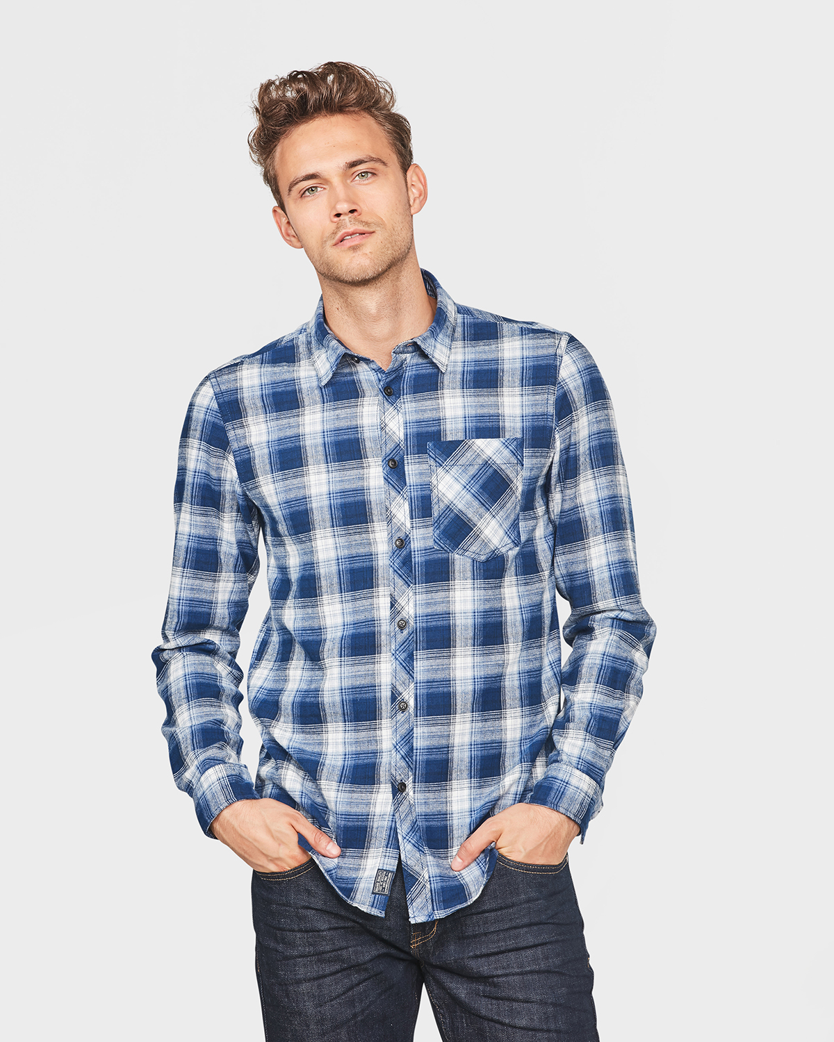 Flanel Overhemd.Heren Relaxed Fit Flanel Checked Overhemd 80075387 We Fashion