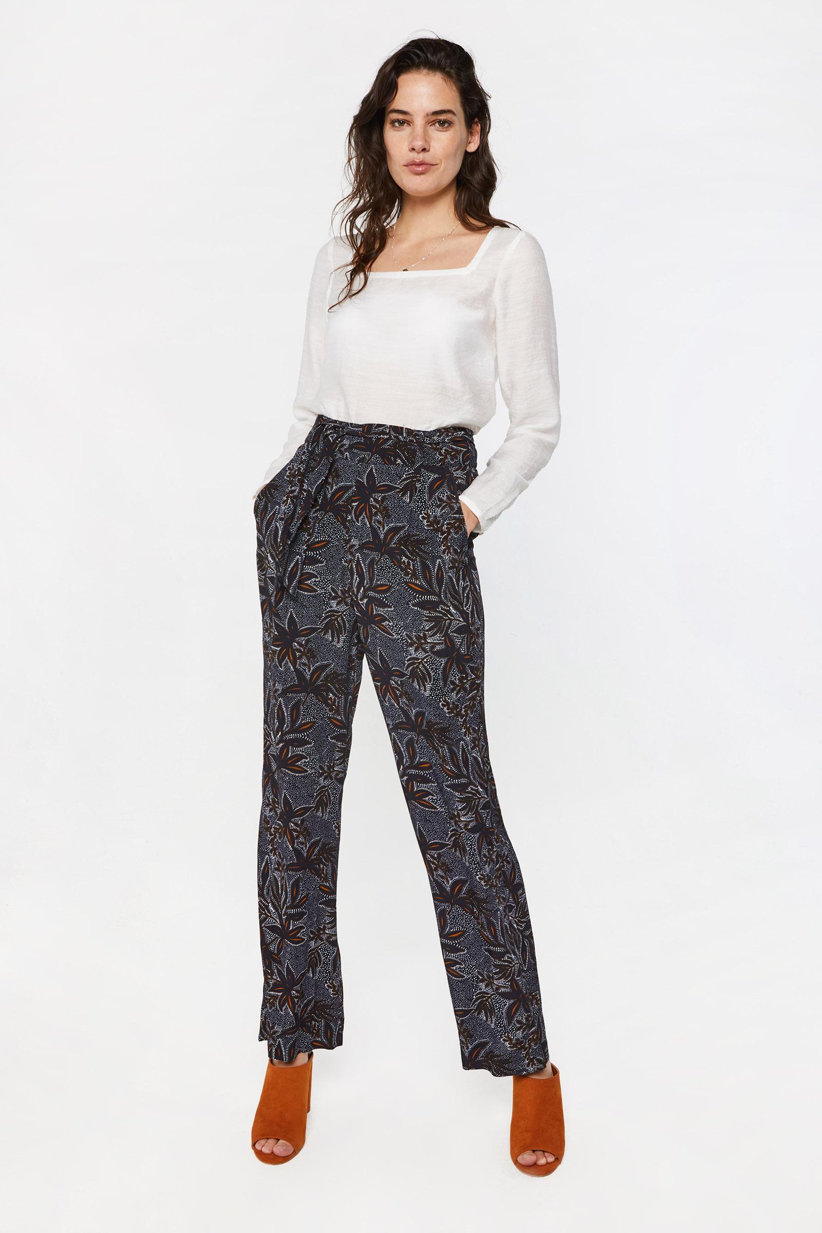 Dames high waist broek met dessin | 95149073 WE Fashion
