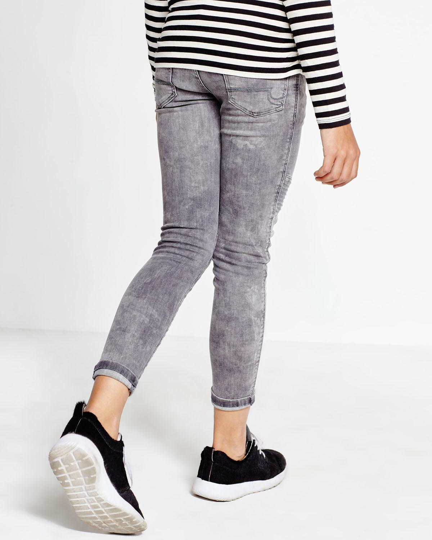 meisjes mid rise super skinny grey denim biker jeans. Black Bedroom Furniture Sets. Home Design Ideas