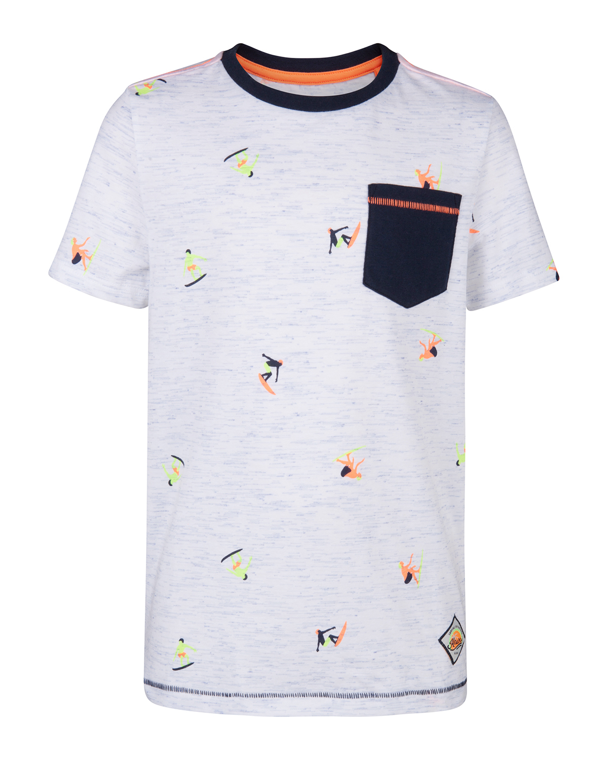 Jongens one pocket melange print t shirt 85448926 we for Print one t shirt
