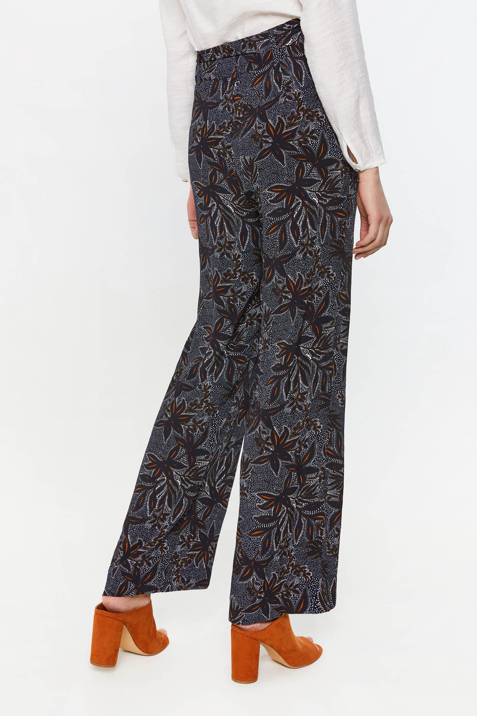 Dames high waist broek met dessin | 95149066 WE Fashion