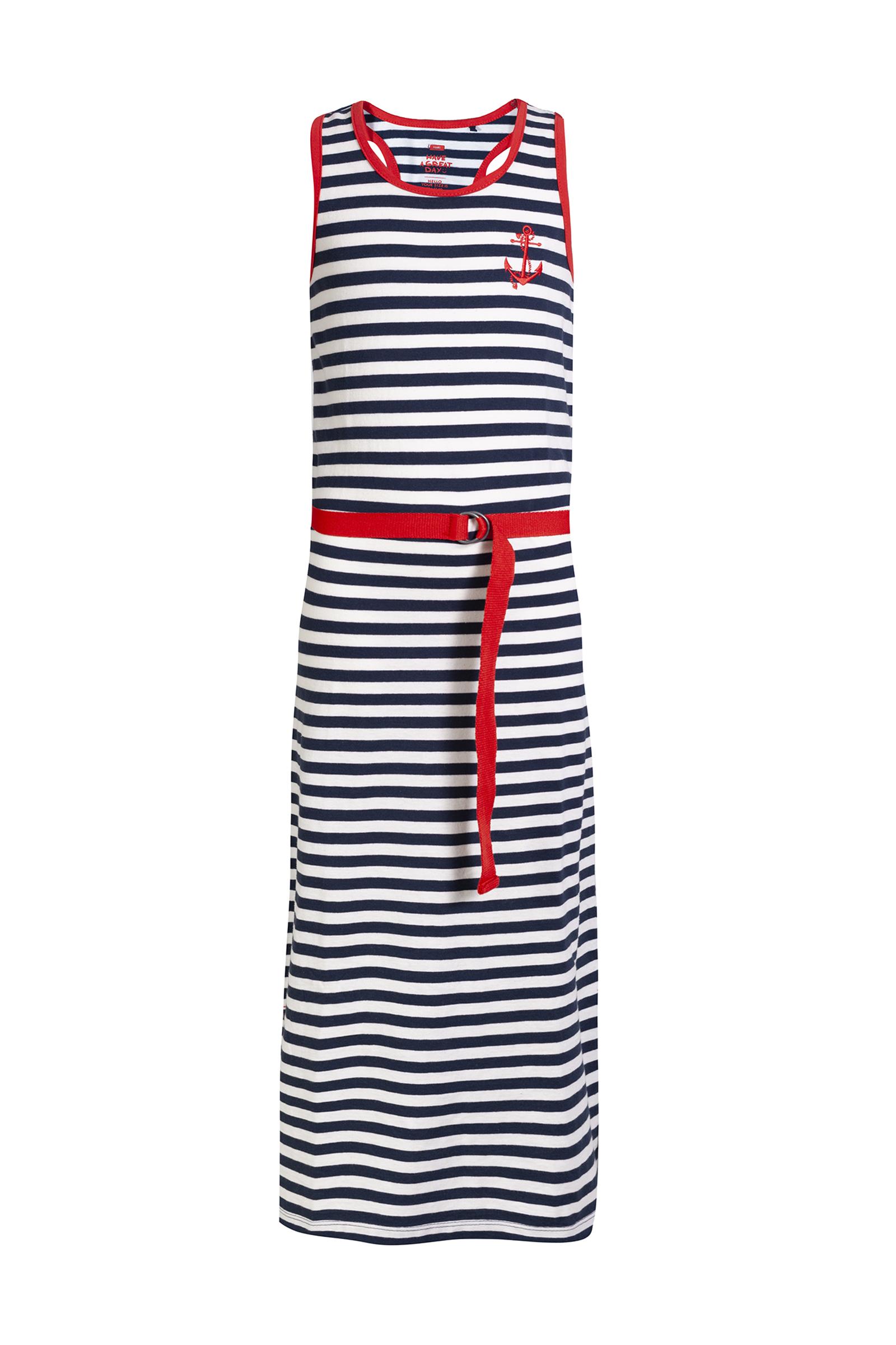 Fonkelnieuw Meisjes gestreepte maxi-jurk met afneembaar ceintuur ES-58