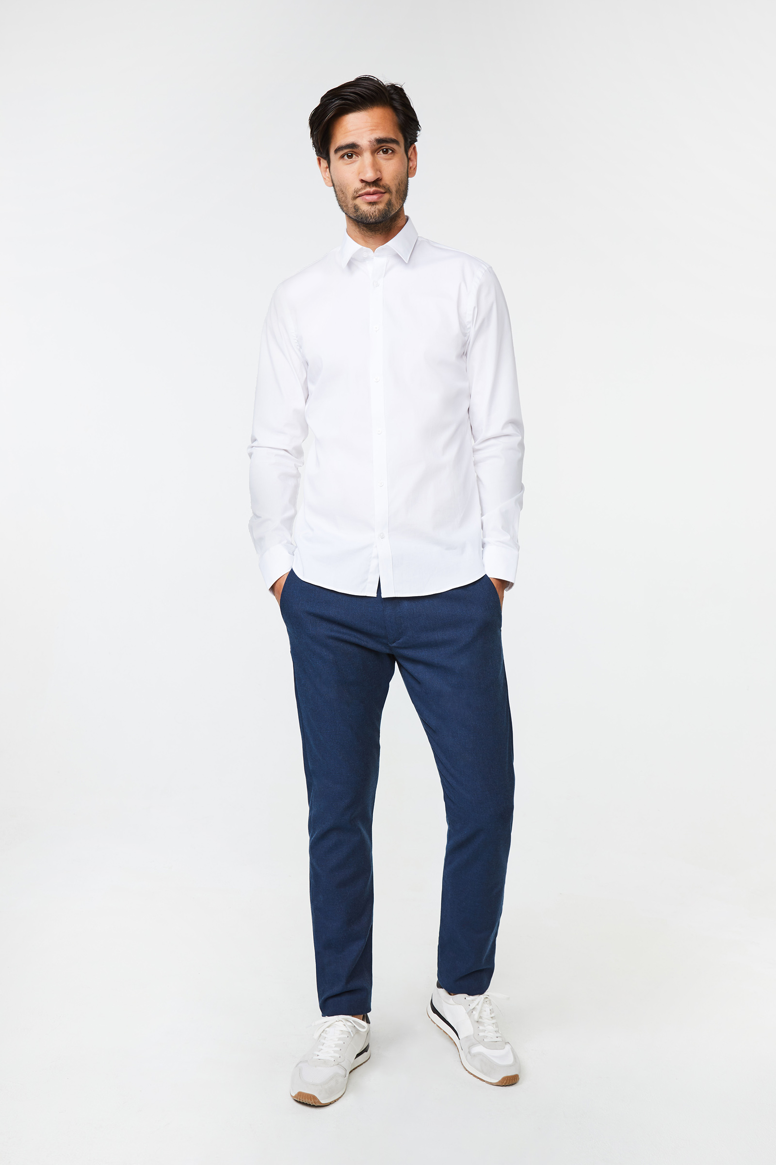 Heren slim fit overhemd met stretch | 76648939 WE Fashion