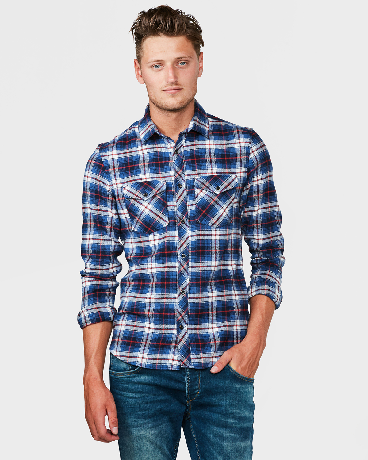Flanel Overhemd.Heren Slim Fit Flanel Checked Overhemd 79473132 We Fashion