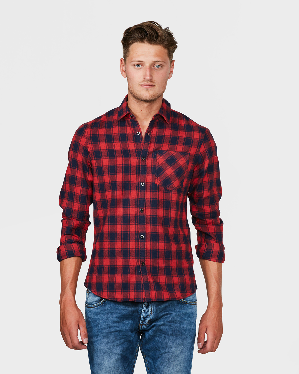Flanel Overhemd.Heren Slim Fit Flanel Check Overhemd 79482271 We Fashion