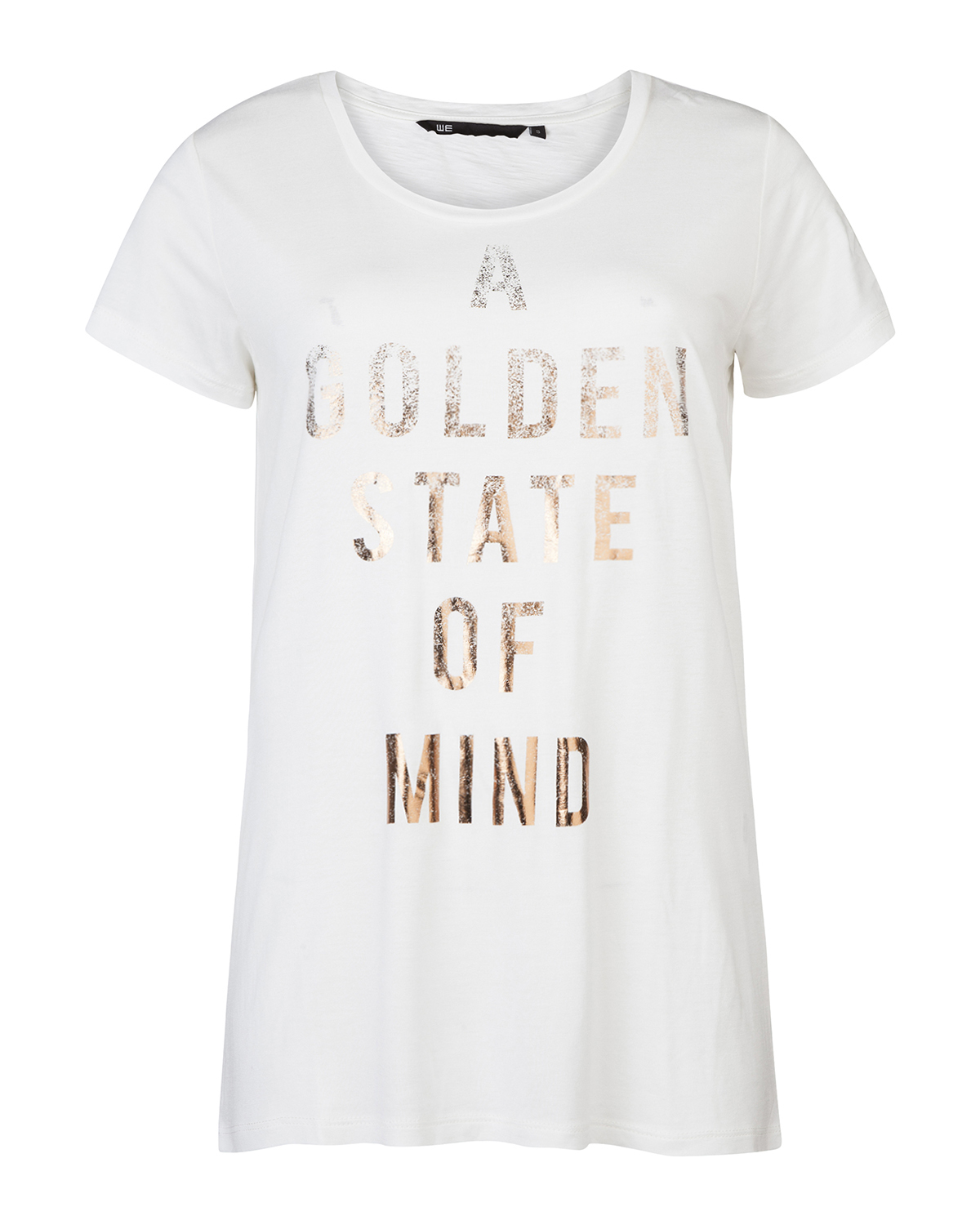 Dames gold text t shirt 79366946 we fashion for Photo t shirts with text
