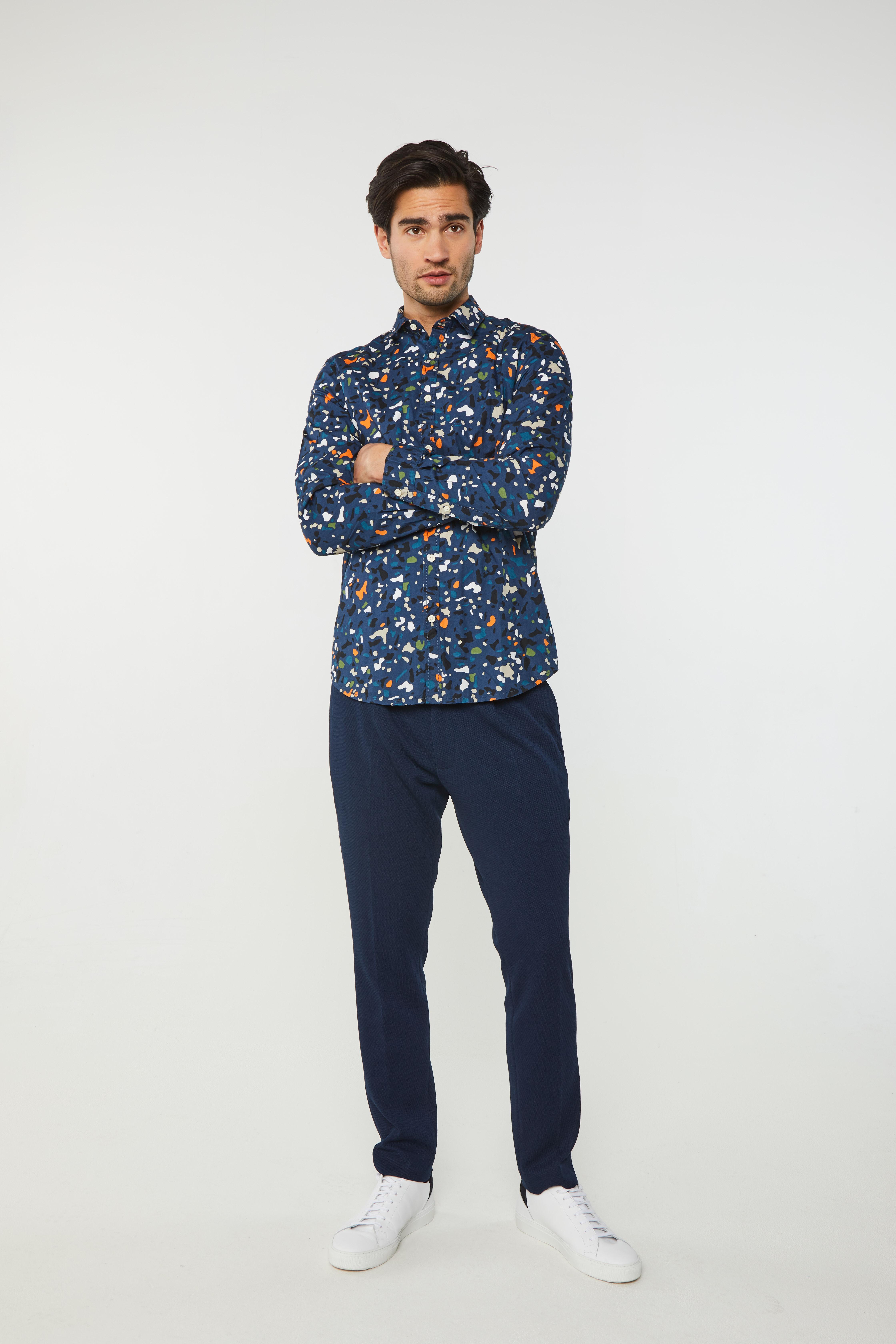 Heren cropped pantalon met structuur | 95051215_0783 WE Fashion
