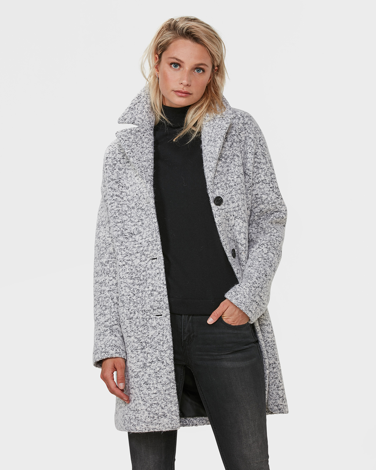 Winterjas Dames Mantel.Dames Wool Blend Cocoon Jas 79376105 We Fashion