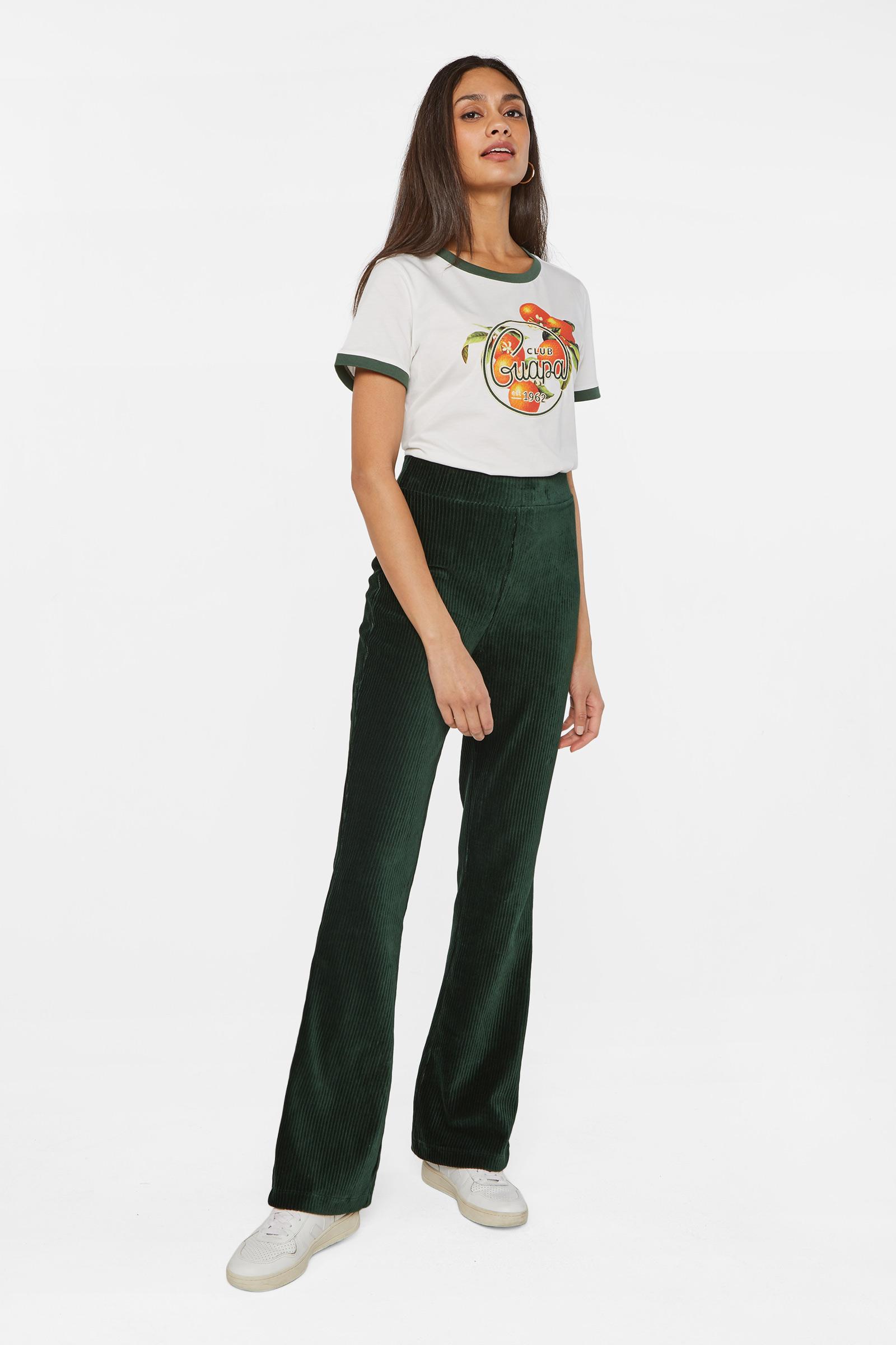 Dames flared broek van ribstof   95354033 WE Fashion