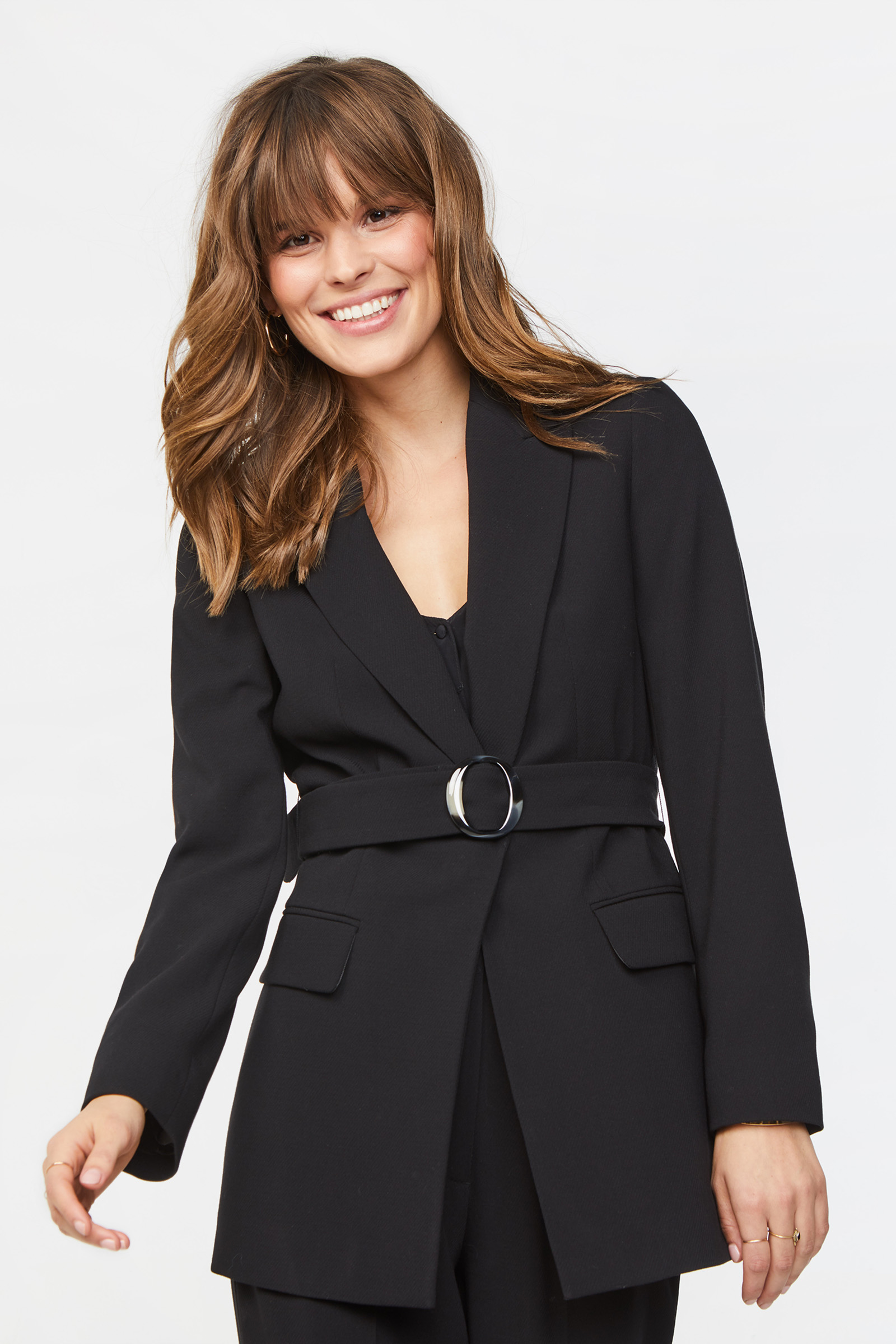 Dames slim fit blazer met structuur en ceintuur | 94806045 WE Fashion