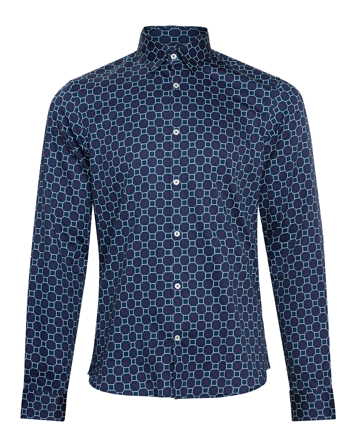 Overhemd Print.Heren Slim Fit Button Down Honeycomb Print Overhemd 79419635 We Fashion
