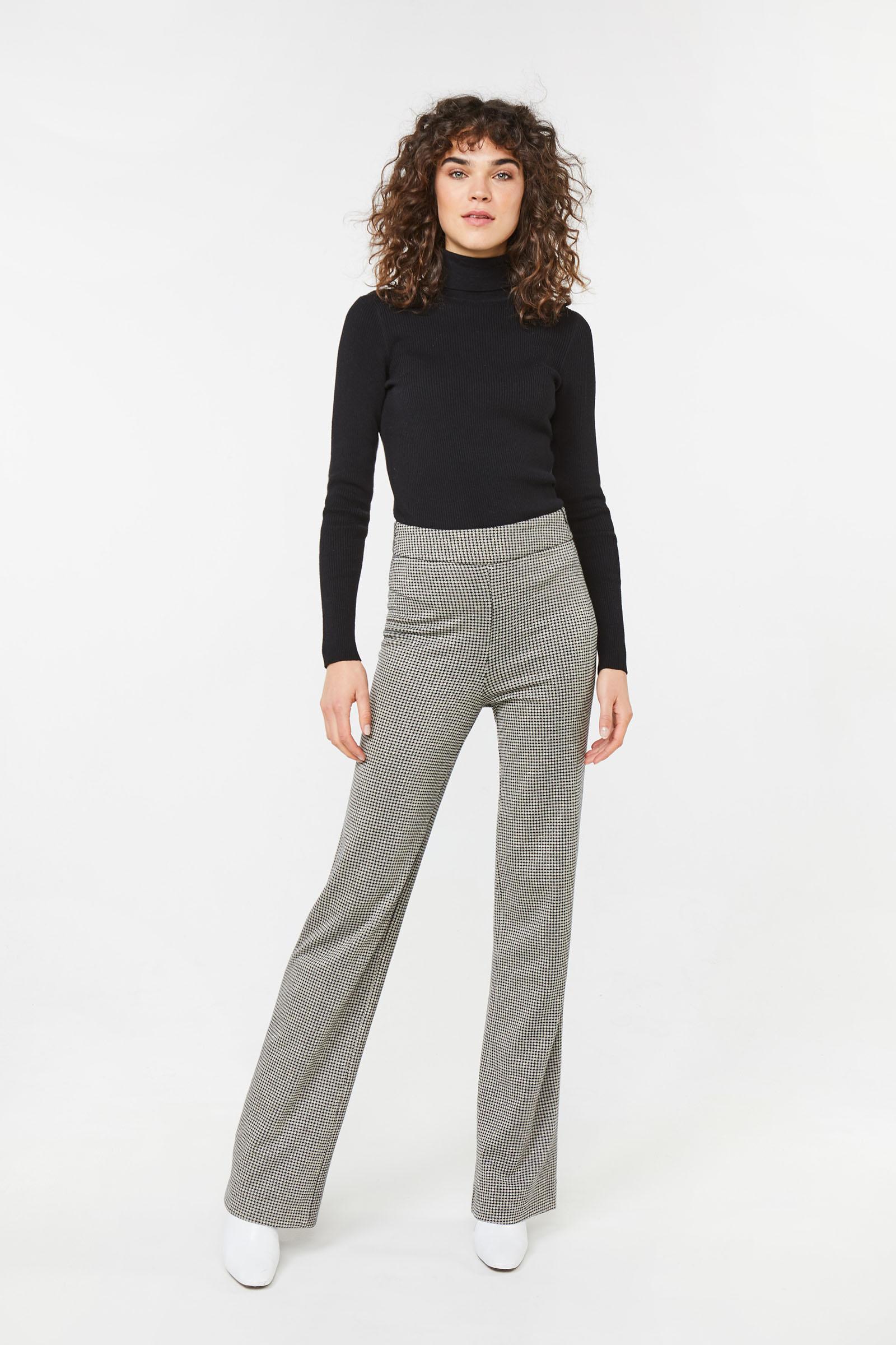 Dames high waist pied de poule dessin broek | 94897654 WE Fashion
