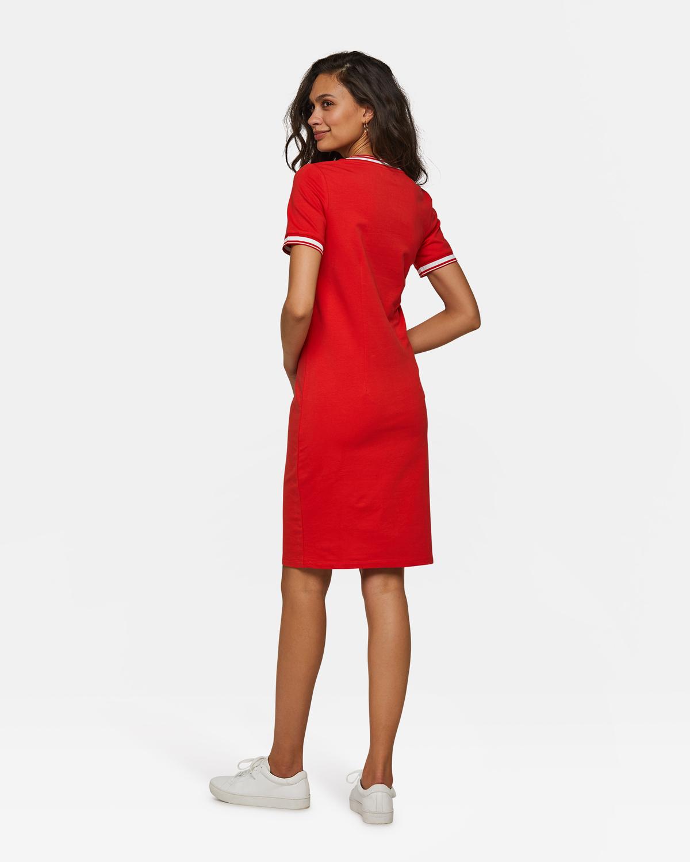 a7634f850b933a Dames sporty stripe jurk Rood
