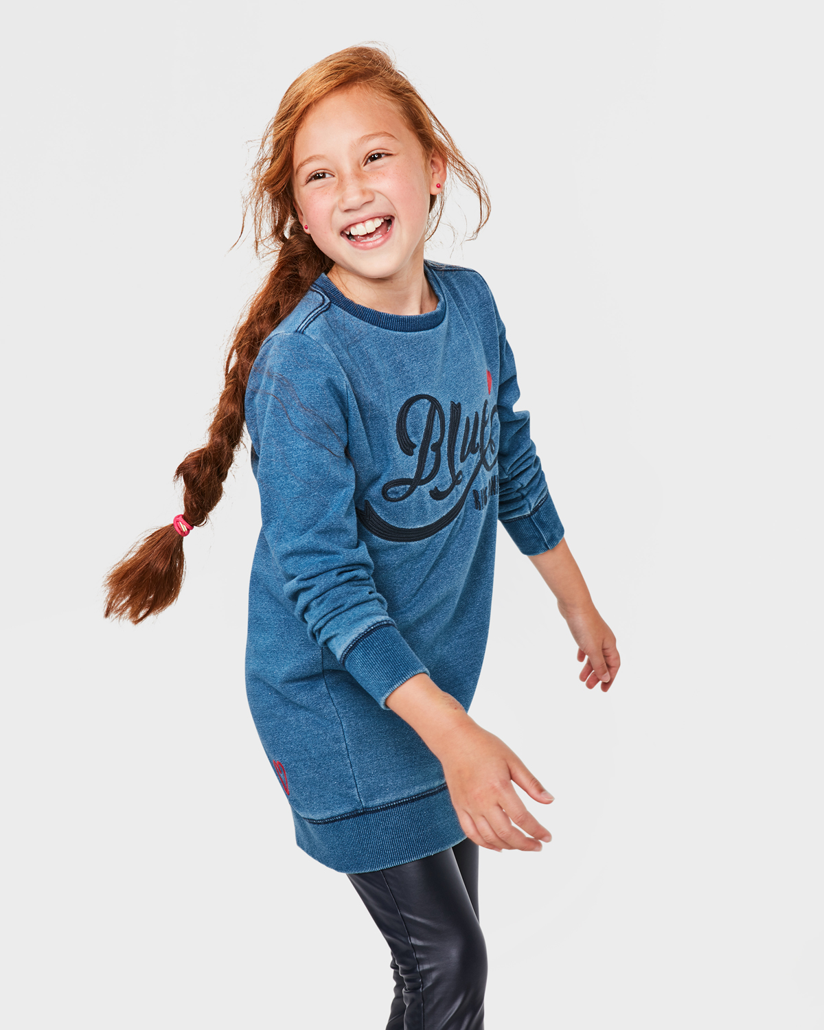Blauwe Lange Trui.Meisjes Blue Rigde Sweater Dress 79937412 We Fashion