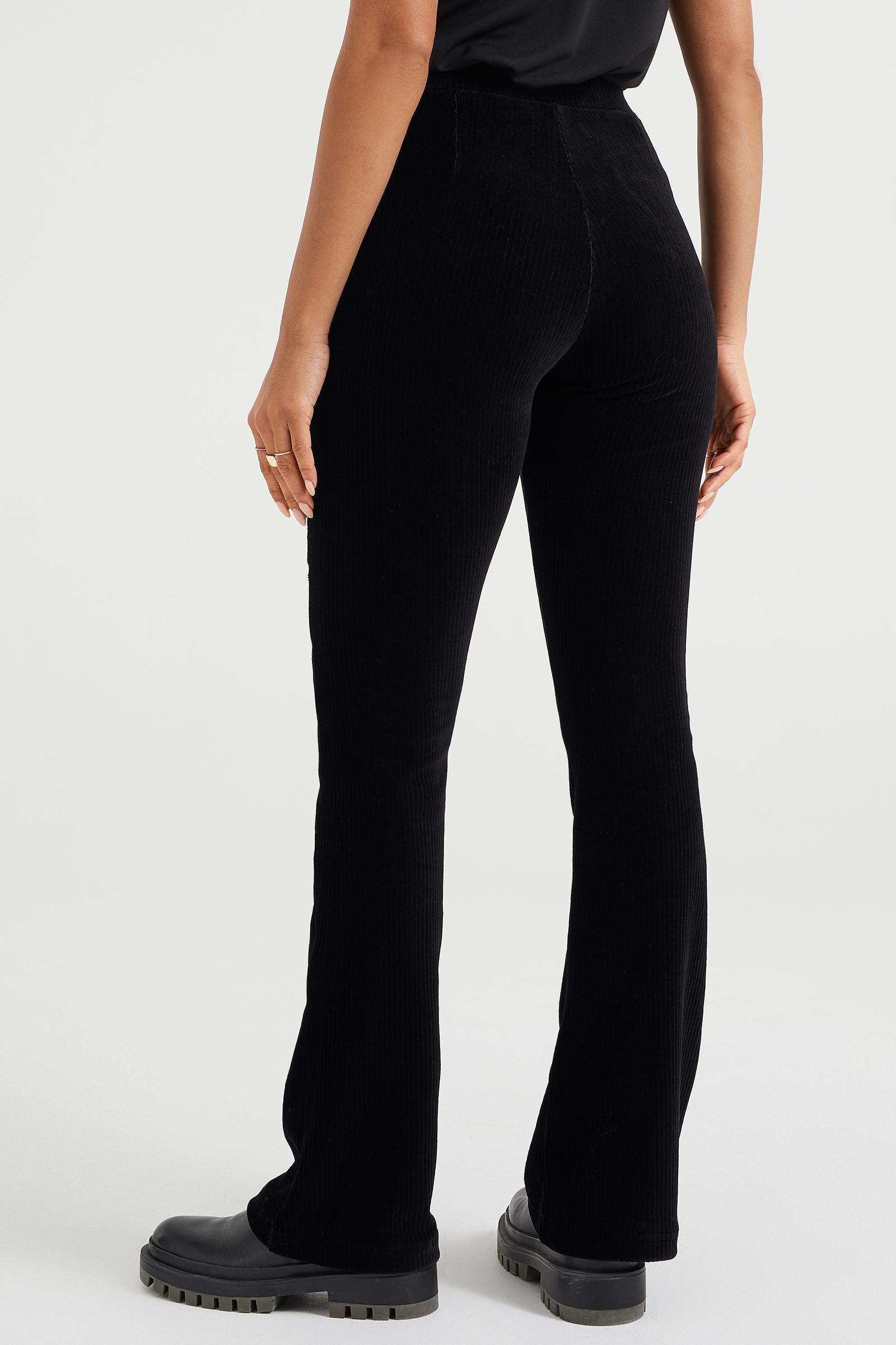 Dames flared broek van ribstof   95082301 WE Fashion
