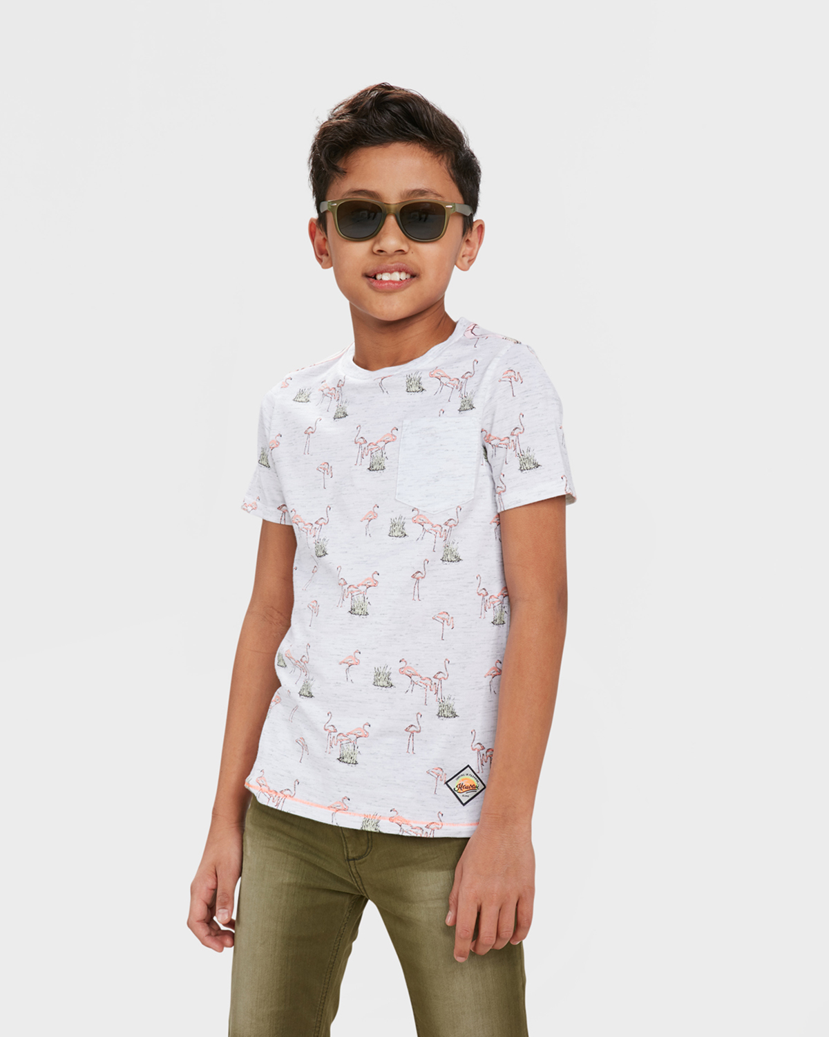 Jongens one pocket flamingo print t shirt 84391834 we for Print one t shirt