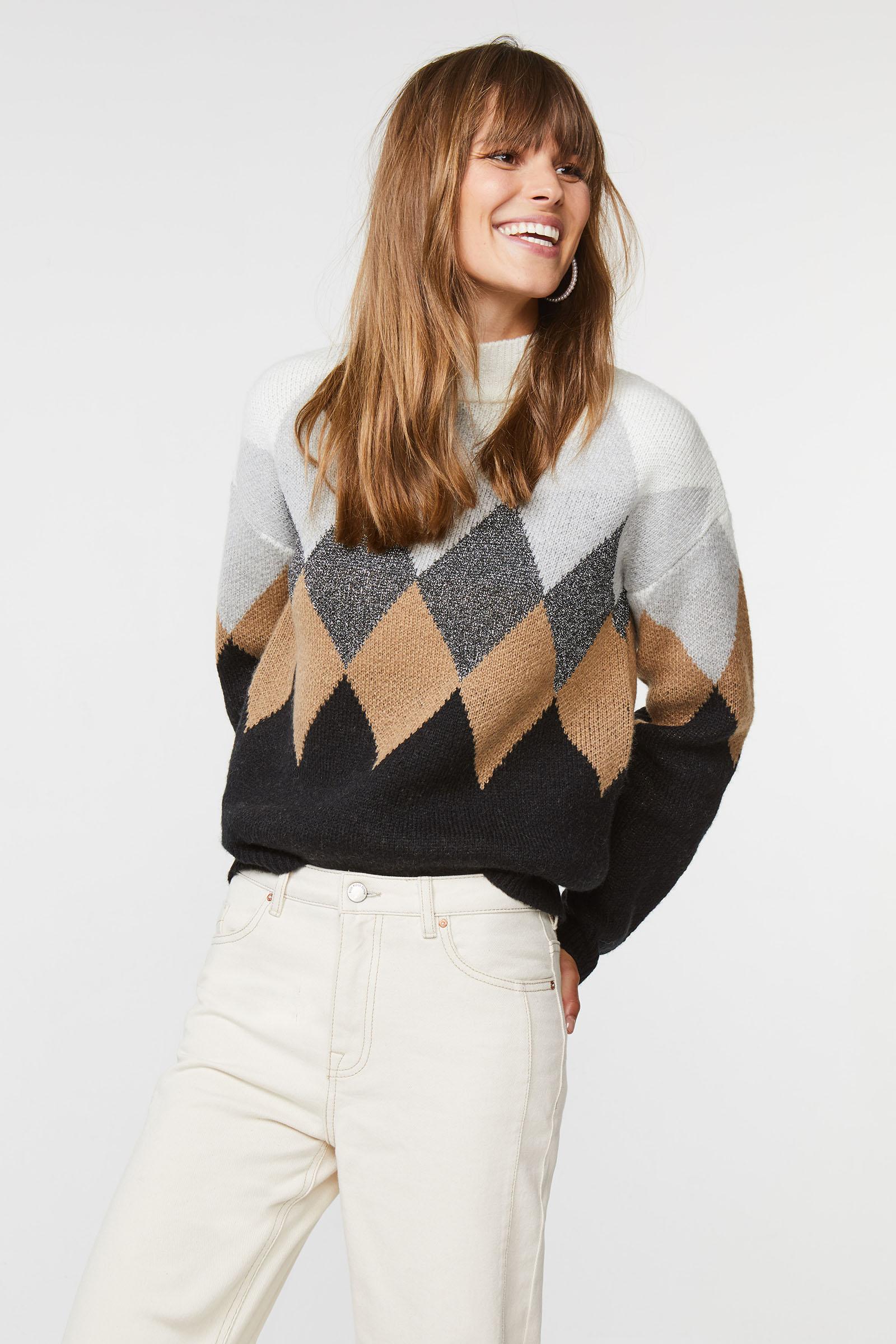 Dames geruite trui met glittergaren | 94913378 WE Fashion