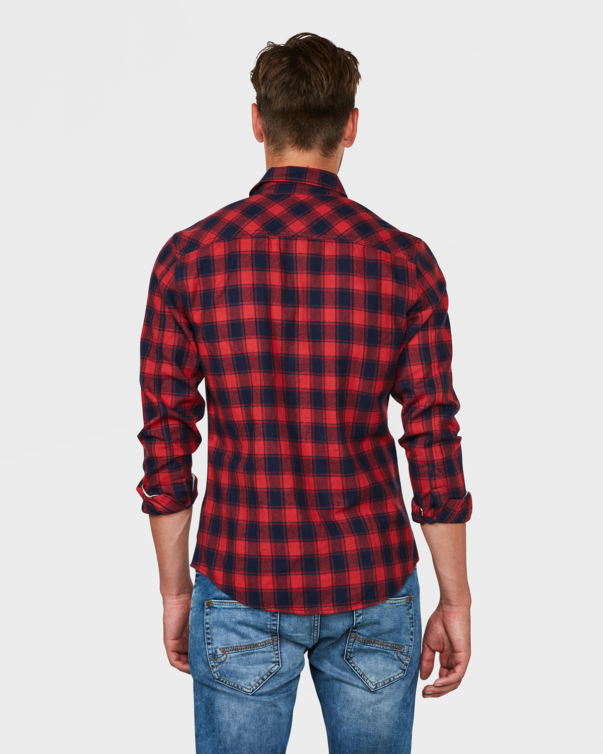 Rood Overhemd Slim Fit.Heren Slim Fit Flanel Check Overhemd 79482271 We Fashion