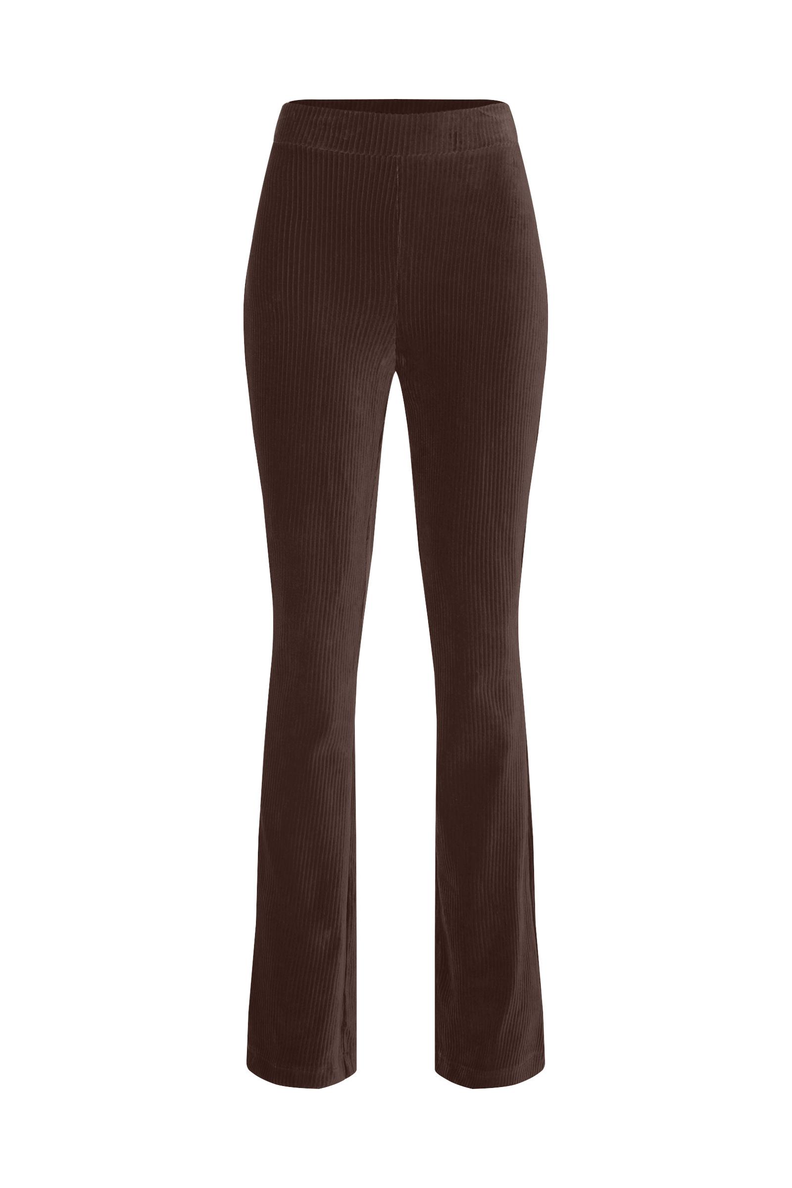 Dames flared broek van ribstof   95348971 WE Fashion